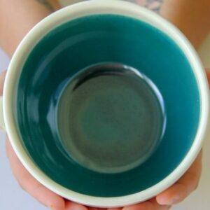 Prodigal Pottery's Artisan Soup Mug – Green Sapphire. Ethical Shopping.