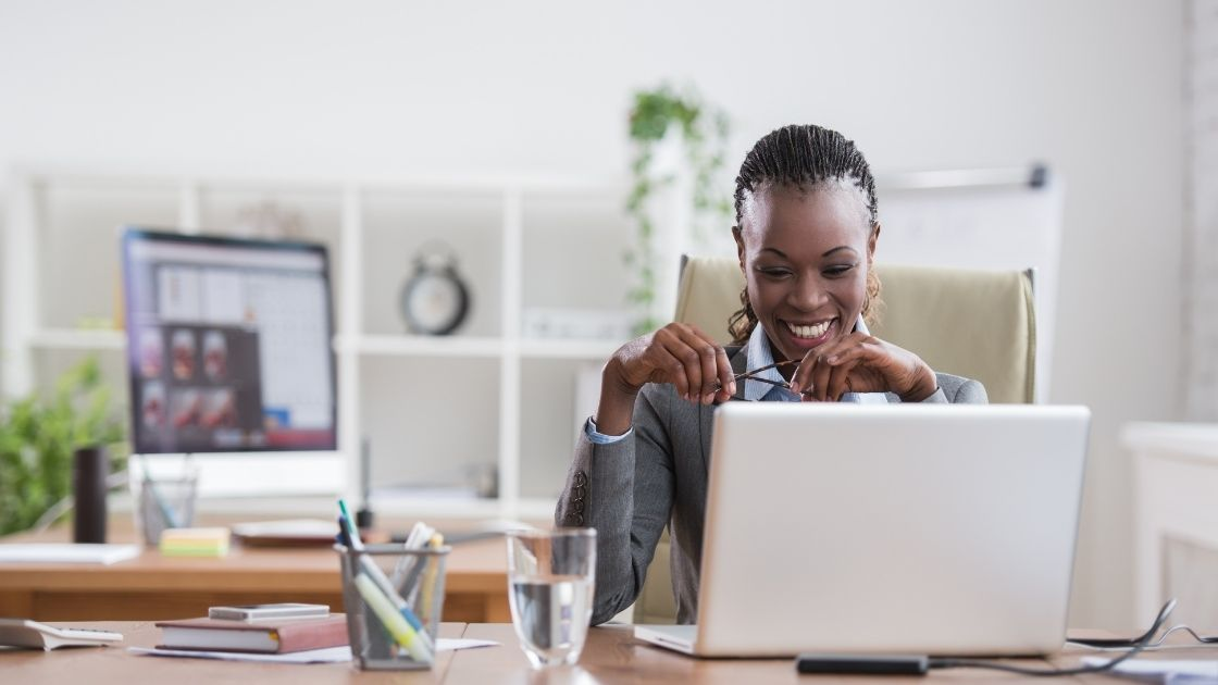 A woman successfully running a woman owned business.